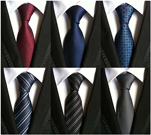 WeiShang Lot 6 PCS Classic Men's 100% Silk Tie Necktie Woven JACQUARD Neck Ties (Style 14)