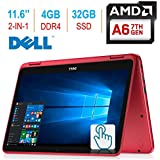 2018 Newest Dell Inspiron 11.6-inch 3000 2-in-1 Touchscreen Laptop/Tablet PC, 7th Gen AMD A6-9220e 2.5GHz Processor, 4GB 2400MHz DDR4, 32GB SSD, Bluetooth, WiFi, MaxxAudio, No DVD, Windows 10-RED