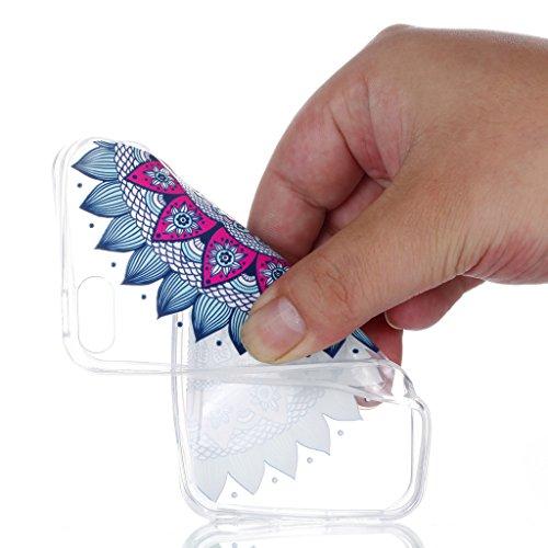 Crisant Case Cover For Apple iPhone 5 5S / SE,Bleu demi-fleur Premium gel TPU souple Très mince Transparent Clair Bumper silicone protection Housse arrière coque étui Pour Apple iPhone 5 5S / SE