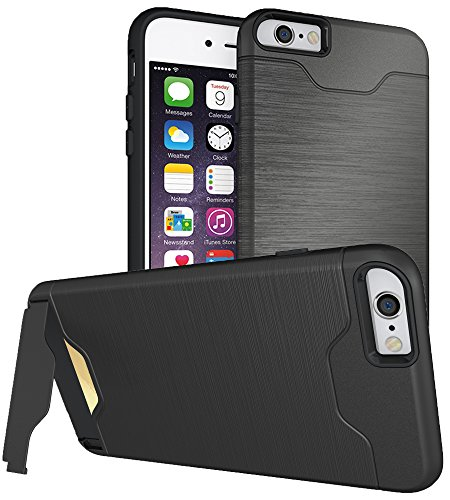 iPhone 6 Plus Case,6s Plus 5.5 Hidden Back Wallet Case,with Kickstand Slim Ultra Shockproof Hybrid High Impact Hard Plastic+Soft Silicone Rubber ,Stand Protective Cover (Black, Wallet and Stent)