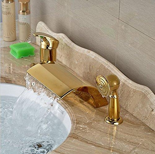 GOWE Modern Golden 3pcs Widespread Bathroom Waterfall Tub Filler Faucet Hand Shower Set Mixer Taps 2