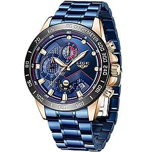 LIGE Homme Montres Mode élégant Militaire Étanche Quartz Montre Sport Chronographe Acier Inoxydable Bracelet Classique…