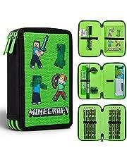Minecraft Pennfodral, stort pennfodral 3 fack fyllda med skolmaterial, minecraft-gåvor