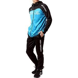[ソレイルドール] ランニングウェア ジャージ 上下セット ドライ スポーツ パーカー ジョガー パンツ メンズ M ターコイズ