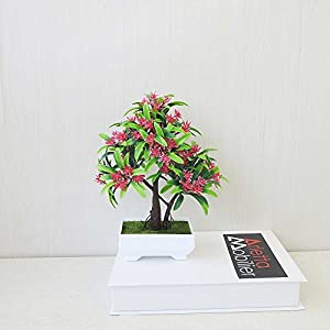 FYYDNZA 5 Colors Welcoming Pine Bonsai Simulation Decorative Artificial Flowers Green Pot Plants For Party Home Table Decor 80
