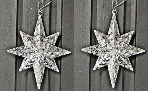 PAIR! North Star Ornaments in White Washed and Glittered Metal (Northstar Ornament)