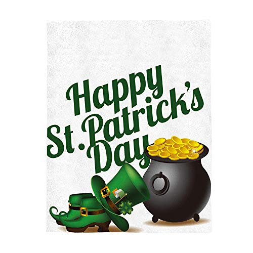 - SIGOUYI Lightweight Flannel Fleece Throw Blankets Reversible Stadium Throws Cozy Plush Microfiber All-Season Blanket for Bed/Couch - Queen 50x80 Inch Happy St. Patrick's Day Shoe Hat and Gold Coin