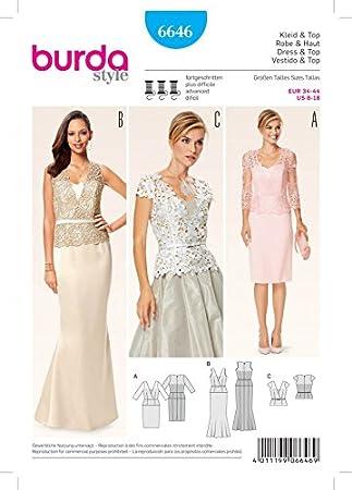 Burda Damen Schnittmuster 6646 Kleider und Top mit Spitze Overlay + ...