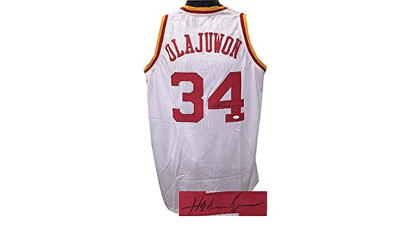 ce787bf8d0f1 Hakeem Olajuwon Signed White TB Custom Stitched Pro Style Basketball Jersey  XL- JSA Hologram at Amazon s Sports Collectibles Store