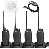Retevis RT26 Two Way Radio 10W UHF 400-470MHz 3000mAh High Power VOX Scan FM Walkie Talkies(4 Pack) and Programming Cable