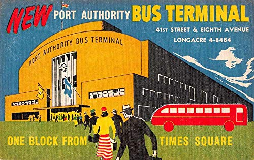 (New York Times Square Port Authority Bus Terminal Ad Postcard JE228912)