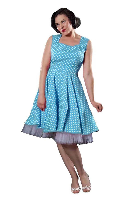 Phaze Damen Kleid, Gepunktet Schwarz Turquoise/White 36