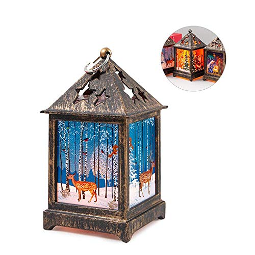 Volwco Christmas Decorative Lights Lanterns, Vintage Hanging Santa/Snowman/Elk Battery Operated Tabletop Led Light Indoor Outdoor Decorations Xmas Candle Lanterns Display for Garden Yard Party Home from Volwco