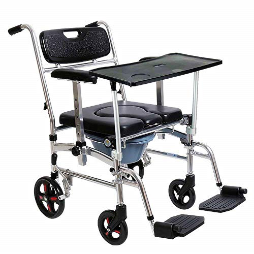 - Nurth 4 in 1 Chair Shower Commode Mobile Chair Commode/Shower Wheelchair Padded Toilet Seat Shower with Dining Table, 4 Brakes, Removable Pedal, Adjustable armrest, PU Commode Seat and Pail 220lb