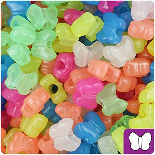 Butterfly Plastic Beads - BEADTIN Mixed Glow 13mm Butterfly Pony Beads (250pc)