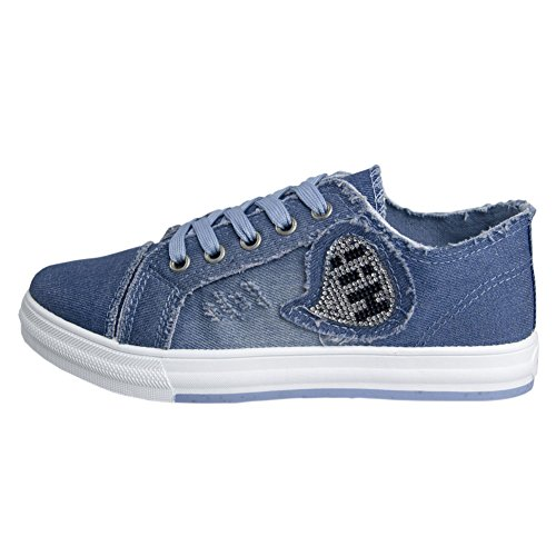 Women's Low-Cut Canvas Shoes Rhinestone Jeans Blue Casual Shoes Flat Washed Canvas Breathable Sneakers Shoes