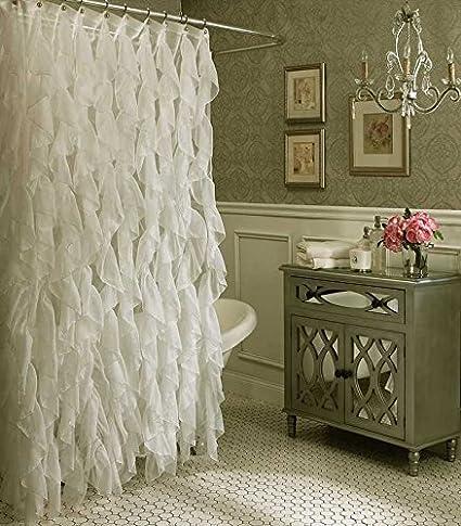 Amazon.com: Cascade Shabby Chic Ruffled Sheer Shower Curtain (Ivory ...