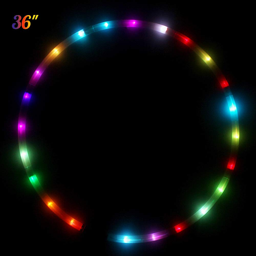 HYDONG LED Hula Hoop Dance & Fitness Glow Weighted Light Up Hoola Hoops for Adults, 24 Color Strobing Changing LED Light, 8 Section Detachable Design, Portable Hula Hoops 36'' (Batteries not Include)