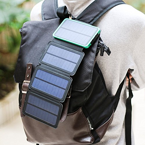 Solar Charger Energy 10000 mAh Power Bank with 4 Foldable Portable Panels Dual USB Output 5V 1A/2A Backup Battery for iPhone Ipad Air Samsung Galaxy Phone Android iPod Camera by Energy