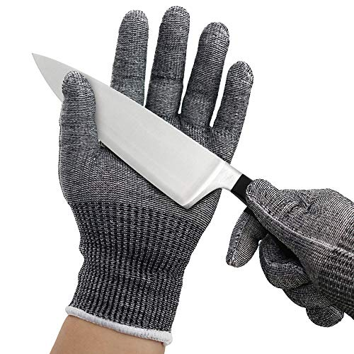 Cut Resistant Gloves for Kitchen, 1 Pair Ambidextrous Safety Gloves for Oyster Shucking, Meat Cutting, Wood Carving, Fish Processing, Mandolin Slicing, ANSI Level 5 Protection, Food Grade, Small