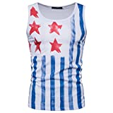 Goodtrade8 Men Boy Vest Sleeveless Strappy Tank Tops Sport Blouse Casual Summer Tee T-Shirt American Flag (XXL, White)