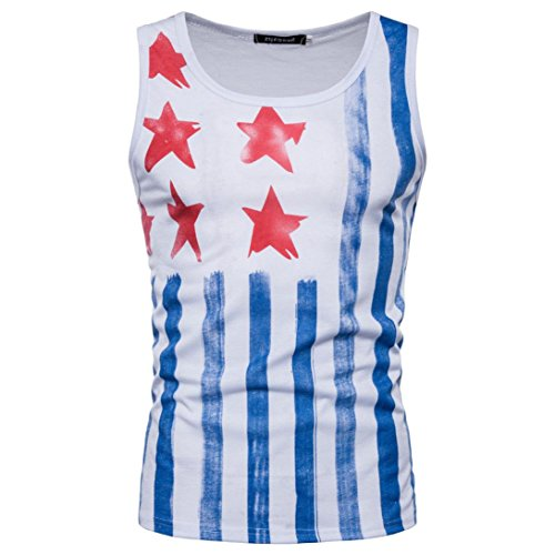 Goodtrade8 Men Boy Vest Sleeveless Strappy Tank Tops Sport Blouse Casual Summer Tee T-Shirt American Flag (XXL, White) by Goodtrade8