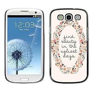 """For SAMSUNG Galaxy S3 III / i9300 / i747 ( I9300 ) Case , Encuentra Belleza motivación de la guirnalda de la flor"""" - Diseño Patrón Teléfono Caso Cubierta Case Bumper Duro Protección Case Cover Funda"""