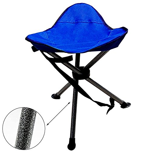 Camping Portable Folding Tripod Stool Outdoor Military Stool Chair Lightweight New Design for Fishing Travel Hiking Home Garden Beach including Bag and Shoulder Strap Blue , 2 yrs warranty by Shaddock