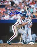 LENNY DYKSTRA SIGNED 8x10 PHOTO NEW YORK METS AT BAT SHEA STADIUM NY w/ JSA COA