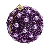 Mome ʕ •ᴥ•ʔ2018 New Christmas Ball ʕ •ᴥ•ʔ 8CM Christmas Rhinestone Glitter Baubles Balls Xmas Tree Ornament Home Decoration,for KTV/Offices/Stores/Hotel/Families (Purple)
