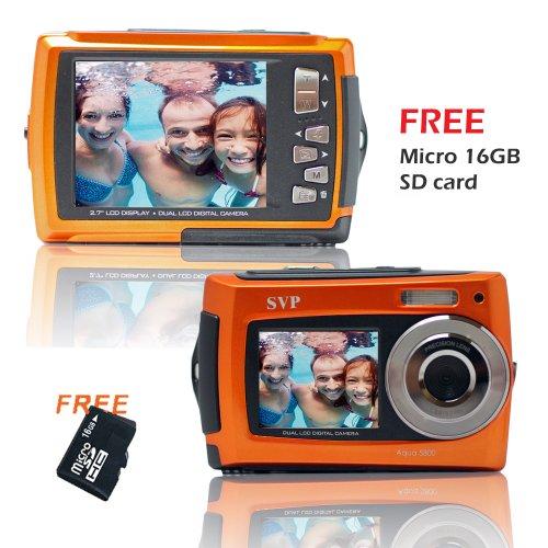 SVP Aqua 5800 Orange (with Micro 16GB) 18 MP Dual Screen Waterproof Digital Camera