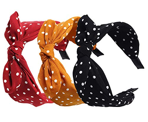 Womens Wide Polka Dots Headbands Headwraps Hair Band with Bow Pack of 3
