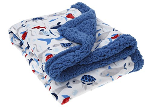 Shark Sherpa Blanket Blue: Soft Double Layer with Fun Ocean Design for Baby Boy Toddler Child from Posh Linens