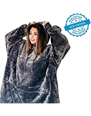 Bonnedecor Sherpa Oversized Wearable Hoodie Blanket Sweatshirt - for Women Men & Kids, One Size, Double Sided, Reversible, Extremely Soft, Snuggie and Warm with Giant Pocket, for A Birthday (Gray)