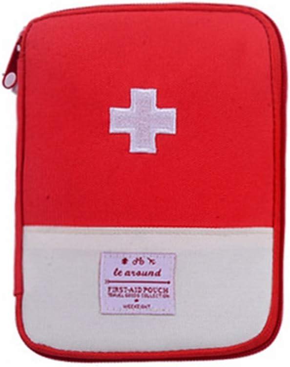 YUENA CARE Mini Bolsa Médica de Emergencia Botiquín de Primeros Auxilios Bolsa de Medicina para Acampar Senderismo Viaje Portátil al Aire Libre Sin Acessorio Rojo L