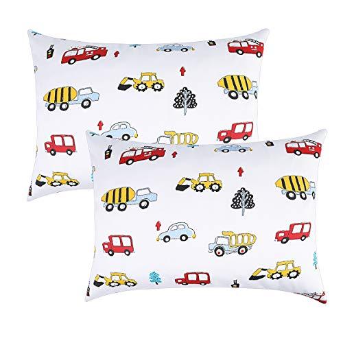 - Kids Toddler Pillowcases 100% Soft Percale Cotton Sateen Weave 14x19 2 Packs Fits Kid Toddler Bedding Pillow 14x19, 13x18 Small Pillow (Fire Engine/Firetruck)