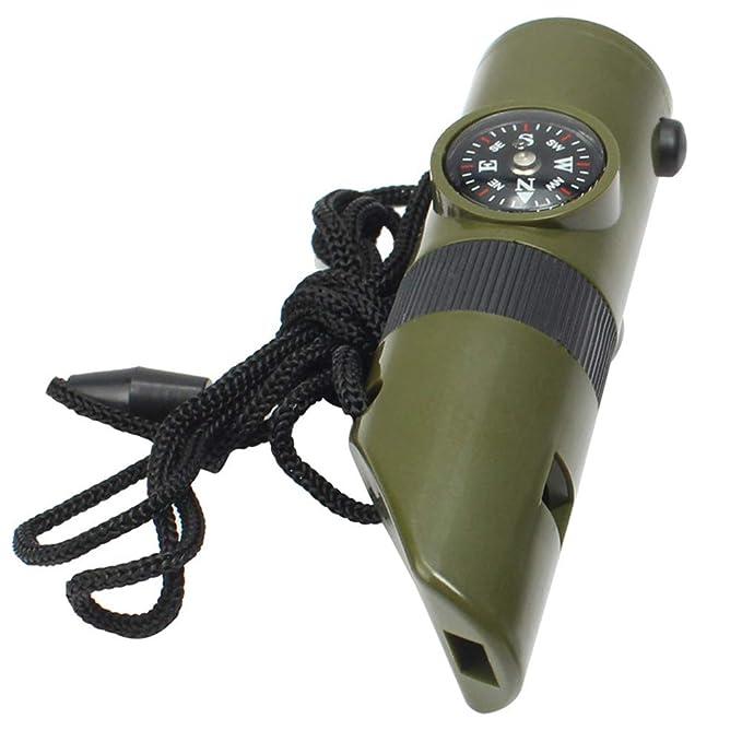 JiuRong Silbato para Exteriores 7 en 1 con term/ómetro con Lupa de br/újula y luz led Silbato de Supervivencia para emergencias para Acampar al Aire Libre