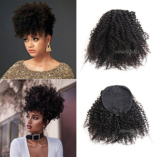 "Search : African American Kinky Curly Ponytail Hair Piece Clip ins Brazilian Virgin Hair Top Closure Ponytail (100g 10"", Natural Black)"
