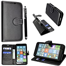 Microsoft Lumia 640 Case, Kamal Star® [ Black Book ] Premium PU Leather Magnetic Case Cover with ATM card and Note slots + Free Stylus