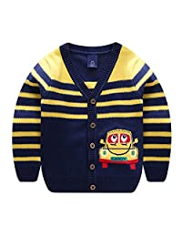 Motteecity Boys Warm School Style Car Embroidered Long Sleeves All Matches Cardigan
