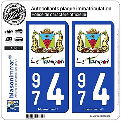 2 Pegatinas para matrícula de coche 974 Le Tampon - Ville: Amazon.es: Coche y moto