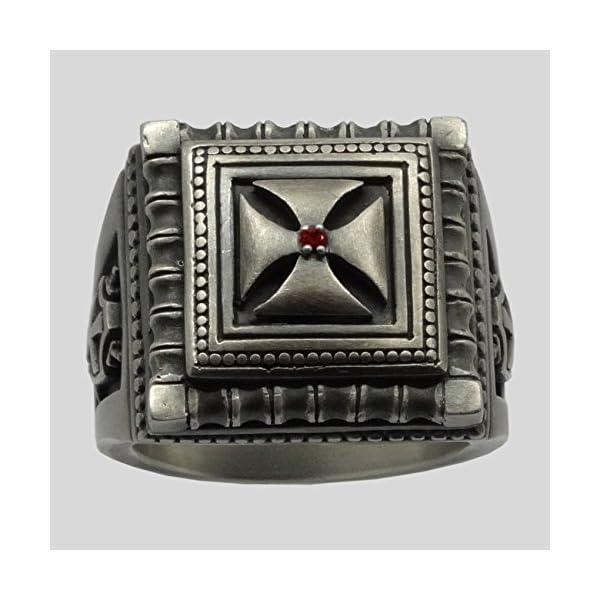 Knight-Templar-Masonic-Cross-Handmade-Men-Signet-Ring-Sterling-Silver-925-KTR018