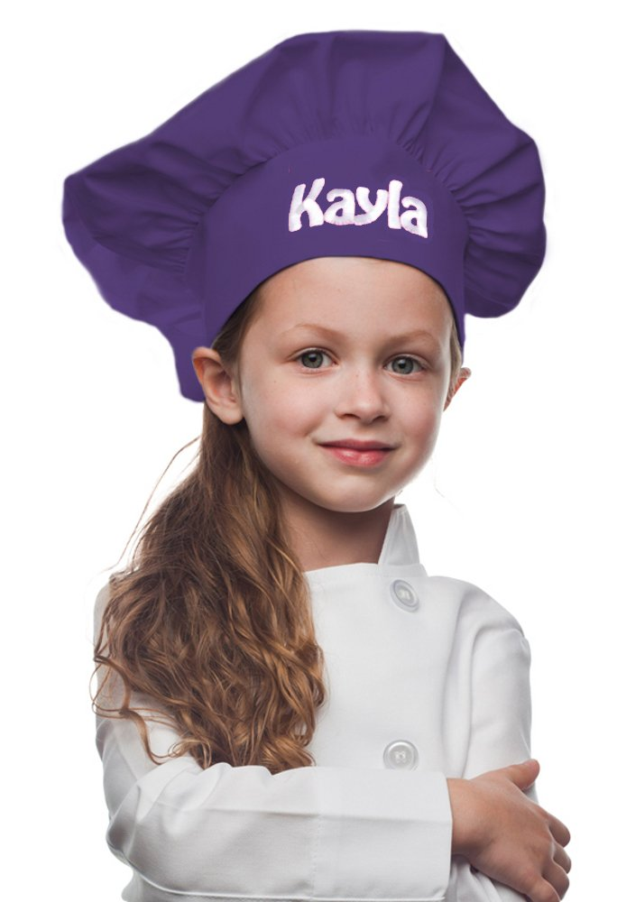 My Little Doc Personalized Purple Kids Chef Hat, Poly/Cotton Twill Fabric