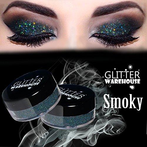 - Smoky Gray - GlitterWarehouse Dark Gray Holographic Loose Glitter Powder for Eyeshadow, Makeup, Nail Art, Body Tattoo