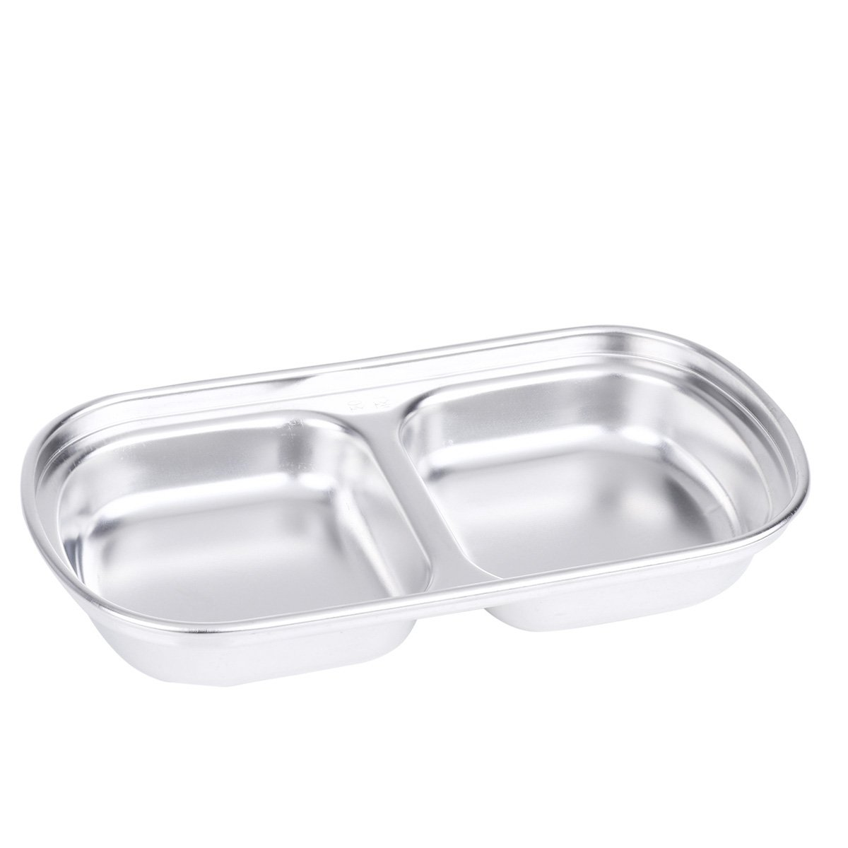 Unbreakable Dipping Bowl Sauce Dish Glazed Stainless Steel Condiment Server Baby Snack Tray 2-Grid