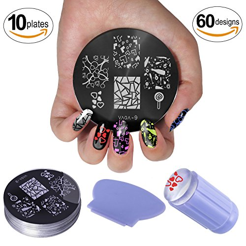 Nail Art Manicure Designs Set Including Rhinestones Crystals Decorations In Different Colors, Dotters Dotting Tools, Brushes, Stamping Plates Templates, Stamper, Scraper and Picker Pencil by VAGASHOP (Image #3)