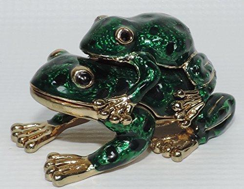 (Green Enameled Frogs Trinket Box)