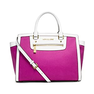 MICHAEL Michael Kors Selma Zip Large Top Zip Satchel Fuschia White & Pink / Fuschia Color handbag