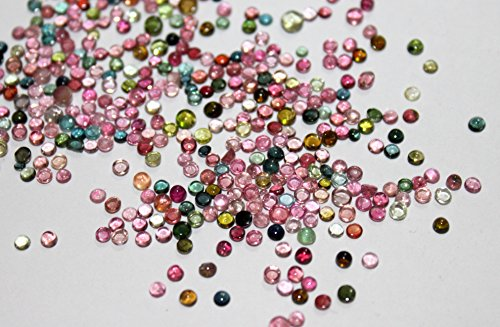 Natural tourmaline multi-color cabochon round loose gemstone 2 mm AAA Quality