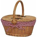 Cestino per il picnic, per bambini, foderato, ovale, con coperchio